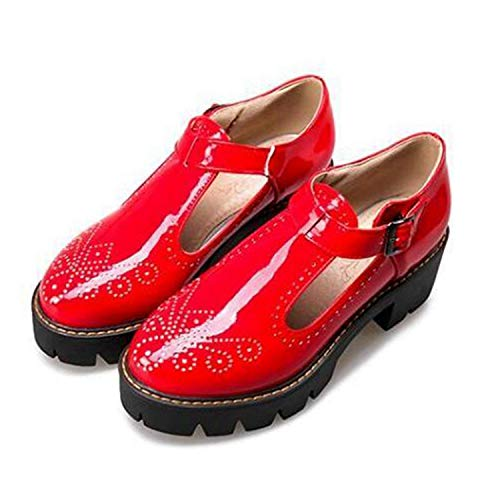 Women's Classic Buckle T-Strap Oxfords Breathable Patent Platform Brogue Mary Jane Shoes Red