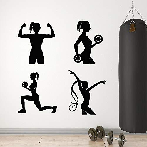 HGFDHG Casa gimnasio vinilo pared fitness chica aeróbic ventana ejercicio ejercicio mancuerna etiqueta engomada arte hogar mural papel pintado