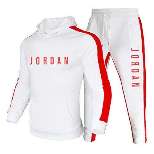 NBNB 2021 Jordan sudadera con capucha para hombres, hombres de entrenamiento deportes casual color bloqueo Hoodie, impreso sudadera deportiva traje blanco ~ B-M