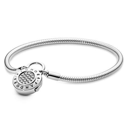 Pandora Moments Snake Link Bracelet with Pave Padlock Clasp Silver 18 cm silver
