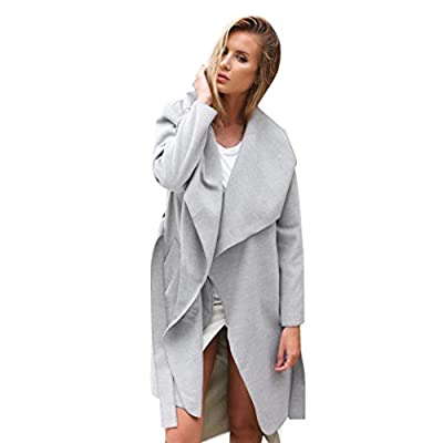 Pocciol Women's Open Front Long Trench Coat Casual Lightweight Blazer Cardigans