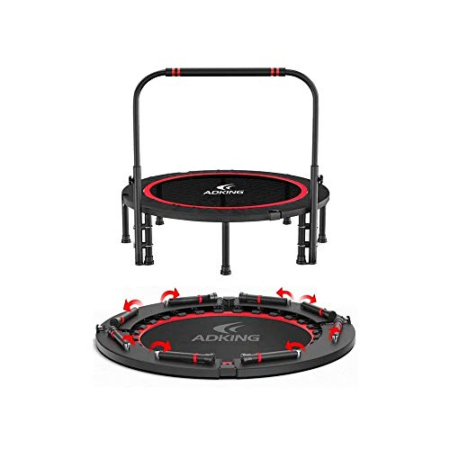 LKNJLL 40' Foldable Trampoline Mini Exercise Rebounder With Adjustable Foam Handle Great for Body Fitness Training Indoor/Garden/Workout