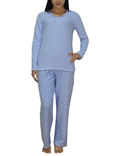 Aria Collection Women's 2 Piece Stretch Microfleece Pajama Set (2X-Large, Blue/Dot)