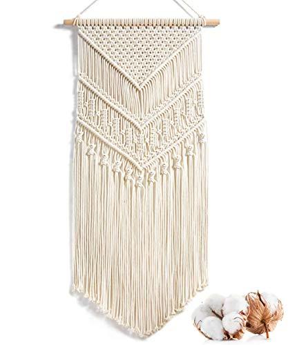 Alumuk Makramee Wandbehang Dekoration für Ihr Zimmer wie die Küche, Böhmische Wanddeko Wandteppich aus Baumwolle Handgefertiges Textil Einzigartiger dekorativer Beiger Türvorhang