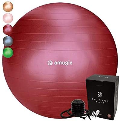 amugis バランスボール ヨガボール /55cm 65cm アンチバースト 耐荷重500KG 椅子 腰痛予防 ダイエット フットポンプ付き