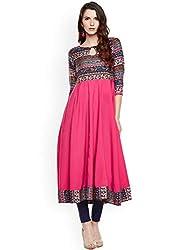 16 Always Multi Color Womens Long Anarkali Printed Kurta, Anarkali Dress for Women