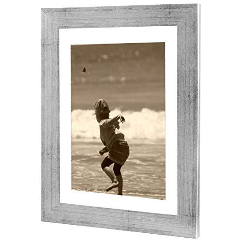 Bilderrahmen Fotorahmen 29,7x42 cm Silber bilderrahmen zum aufhängen MDF Picture Frames Farbe und 40 Verschiedene Größen wählbar ohne Passepartout Rahmen Ayleen