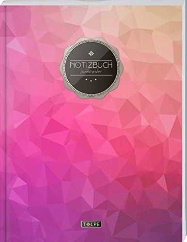 """TULPE Punktraster Notizbuch A4 """"C074 Dreiecke"""" (140+ Seiten, Vintage Softcover, Punktkariertes Papier - Bullet Journal, Dickes Notizheft, Skizzenbuch, Tagebuch, Gepunktete Seiten, Dot Grid Notebook)"""
