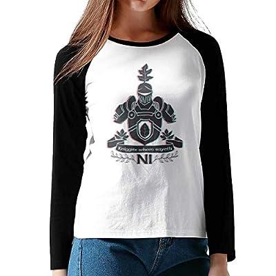 FashionWomen Print Samurai's Knife Cotton Graphic Long Sleeve Baseball T-Shirts XL Black from Onesunc