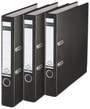 Leitz 310345095 Qualitäts-Ordner Plastik-Cover (A4, 5,2 cm Rückenbreite, 3er-Pack) schwarz