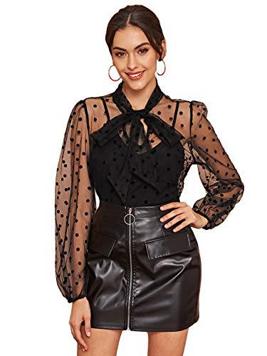 MakeMeChic Women's Elegant Bow Tie Neck Dobby Sheer Mesh Overlay Blouse Tops Black Medium