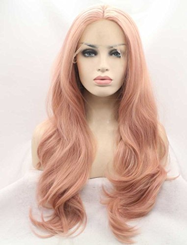 K'ryssma Fashion Baby Pink Wigs Long Wavy Lace Front Wig Mixed Color Light Pink Synthetic Hair Natural Looking Half Hand Tied Heat Resistant Fiber 22 inch