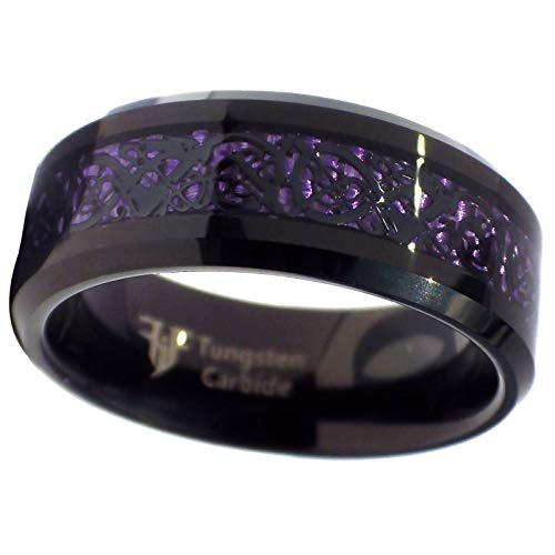 Fantasy Forge Jewelry Tungsten Black Celtic Dragon Ring Purple Carbon Fiber 8mm Womens Mens Size 11