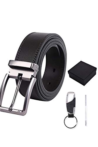 MISHAER Cinturón Cuero Hombre,cinturones piel Jeans hombre negro hebilla cinturon reversible hombre ancho 3cm largo125cm con caja de