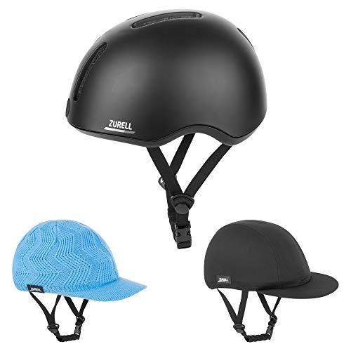 ZURELL Bike Helmet with Black Woolen Cap and Black Peak Cap, Lightweight Bicycle Helmet for Adults, Comfort System, Safety Light Dial Adjustment, (Small)