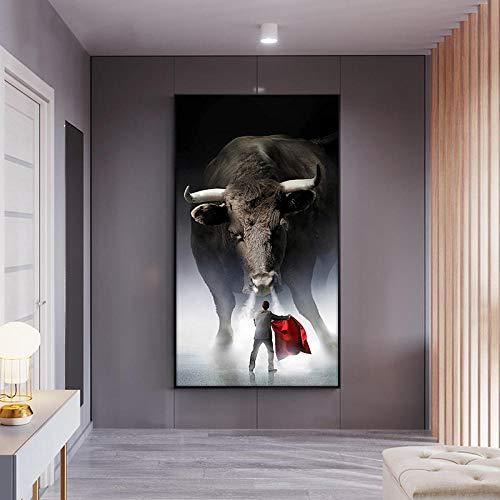 JINGZAODAMAI Decoración de Pared Matador Poster Print Wall Art Canvas Painting Cuadro de Corrida de toros para la decoración del hogar de la Sala de Estar -50x70cmx1 pcs sin Marco