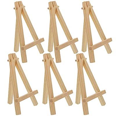"U.S. Art Supply 8"" High Small Natural Wood Display Easel (Pack of 6), A-Frame Artist Painting Party Tripod Mini Easel - Tabletop Holder Stand for Canvases, Kids School Crafts, Event Signs Photos, Gift"
