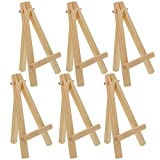 U.S. Art Supply 8' High Small Natural Wood Display Easel (Pack of 6), A-Frame Artist Painting Party Tripod Mini Easel - Tabletop Holder Stand for Canvases, Kids School Crafts, Event Signs Photos, Gift