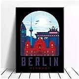 Wsxyhn Póster De Lienzo Artístico De Berlín, Imágenes E Impresiones para Hotel, Bar, Cafetería, Sala De Estar, Decoración del Hogar, Pintura-60X80Cm Sin Marco