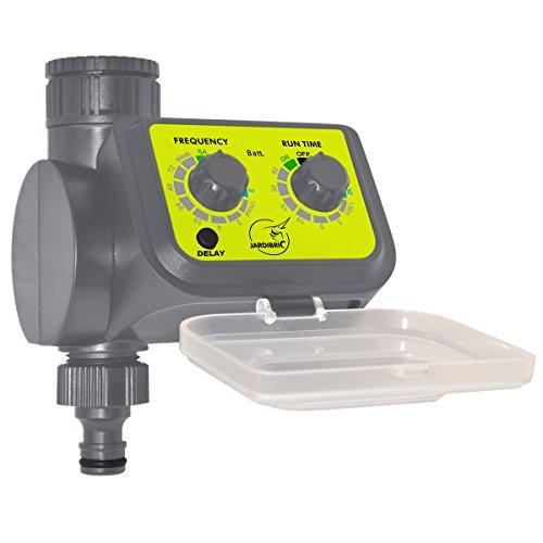 Jardibric 4963 - Timer analogico per irrigazione Aqua Flow, durata regolabile da 5 a 60 minuti, frequenze predefinite da 30 secondi a 1 settimana