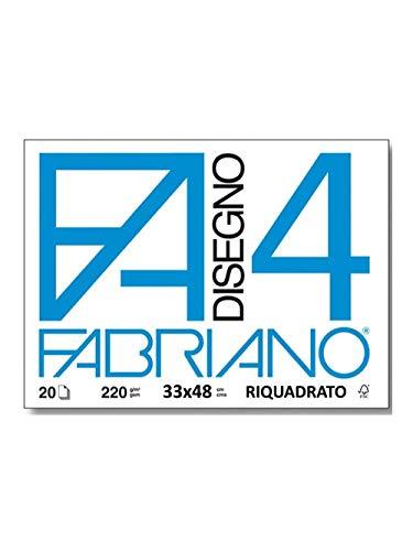 Fabriano F4 05201797, Album da Disegno, Formato 33 x 48 cm, Fogli Lisci Riquadrati, Grammatura 220gr/m2, 20 Fogli