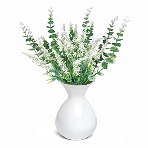 Vaxter Decor Artificial Decorative Plants White Lavender Flower and Eucalyptus Natural Greenery Branches - 4 PC Set Home Desktop Office Party - Excluding Vase