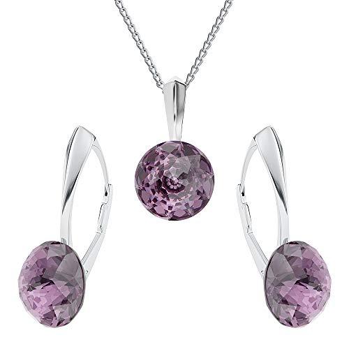 Crystals&Stones Mujer plata de ley 925 plata redondo Crystal