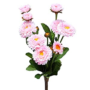 Anna Homey Decor 15 inch Artificial Pink Calendula Flowers Bouquet with Stems Pack of 5 Plastic Floral Chrysanthemum Arrangements Realistic Flower Bouquets for Home Farmhouse Table Decor