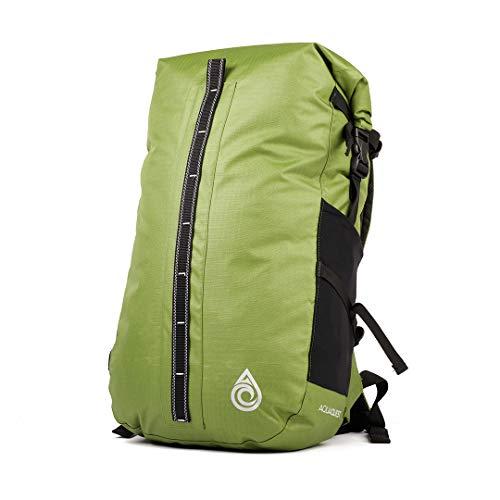 Aqua Quest Cloudbreak Packsack - Wasserdichter Rucksack 30L - Außentasche mit Reißverschluss, Innenfutter, reflektierendes Logo - Grün