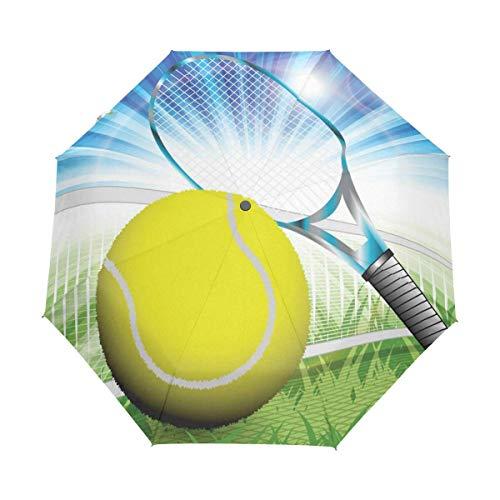 AOTISO Tennis Winddichter Regenschirm Auto Open Close 3 Klappbarer Regenschirm UV-Schutz Tragbar