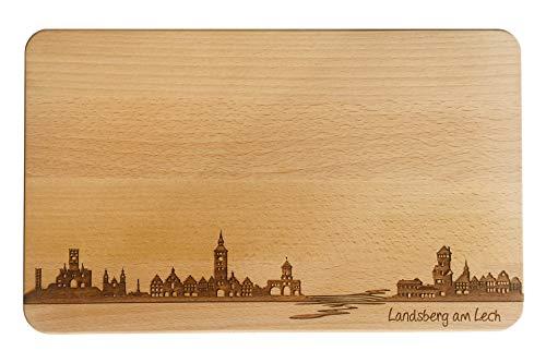 SNEG Brotzeitbrett Landsberg am Lech Skyline   Frühstücksbrettchen aus Buche   Holz Schneidbrett   Geschenk mit Gravur   Frühstücksbrett   Bayern (Brett XL (35x23x1,5cm), 1. ohne persönlicher Gravur)