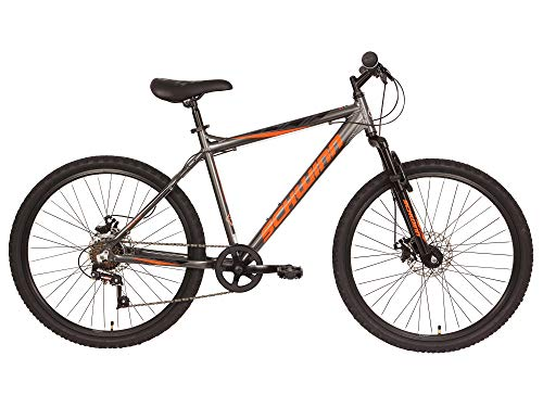 Schwinn Surge Adult Mountain Bike, 26-Inch Wheels, Mens 17-Inch Alloy Frame, 7 Speed, Disc Brakes, Graphite/Orange