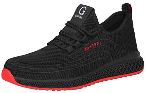 [tqgold] 安全靴 スニーカー 作業靴 メンズ レディース ハイカット ブーツ 鋼先芯 軽量 通気性 耐滑 耐摩耗 ワークシューズ 黒 作業 靴 工事現場 疲れない あんぜん靴 (黒&赤 26.5cm)