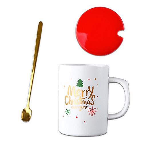 Taza De Cerámica De 450 Ml, Taza De Navidad De Tendencia Creativa, Taza Simple Con Cuchara, Taza De Café Con Leche Para El Desayuno, Regalo De Navidad