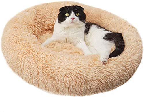 DAGUAI Warm Fleece Hundebett 7 Größen Round Pet Lounger Kissen for Small Medium Large Hunde Katzen Winter-Hundehütte-Welpen-Matten-Haustier-Bett, Licht orange, Durchmesser 110cm