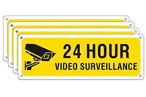 24 Hour Video Surveillance Sign for Indoor Outdoor Use, Rust Free Metal UV Protected 0.40 Aluminum 10 x 3.5 inches, Waterproof Security Camera Warning Sign for Home Business (4 Pack)