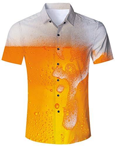 Bier Strand Hemden Für Herren Kurzarmhemden Lusting Sommer Freizeithemd 3D Beer Druck Hawaii Hemd Für Herren Jungen Gelb XXL