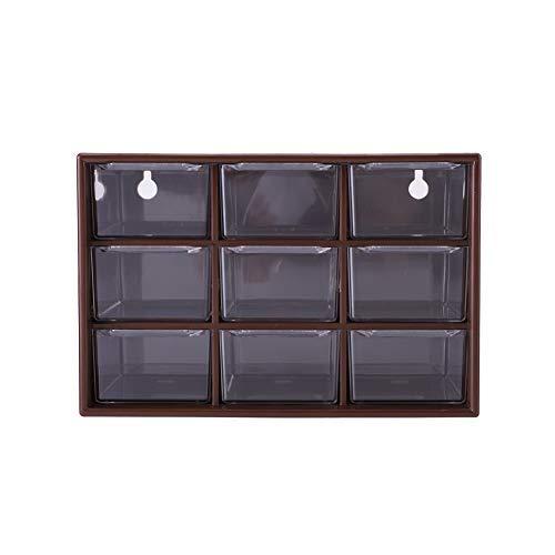 Fdit 9 Cajones de Almacenamiento de Escritorio Portátil de Plástico 9 Enrejados Mini Gabinetes Cajón Joyería Cosmética Socialme-EU(Marrón)
