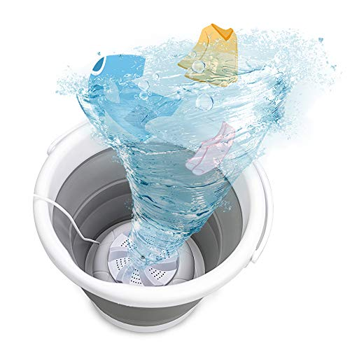 Máquina de lavado portátil, mini máquina de limpieza por ultrasonidos, lavadora de turbina plegable con USB, cubeta para ropa de bebé para calcetines de viaje en casa ropa interior