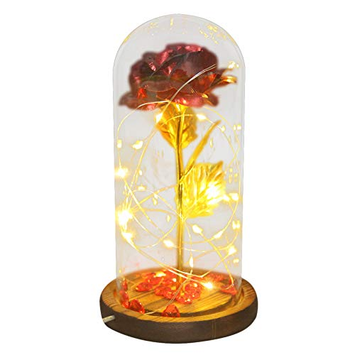 wuayi Artificial Flowers,LED light Gold Foil Flower, Glass Cover Rose Flower Valentine's Day Gift Decoration, Indoor Outside Hanging Plants Garden Patio Porch Window Farmhouse Desktop Ornaments
