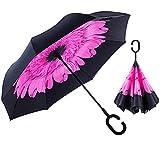 (Pink Flower) Smart Brella - The World's First Reversible Umbrella
