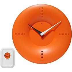 Infinity Instruments 10-inch Modern Wall/Tabletop Clock with Remote Control Chime, Orange