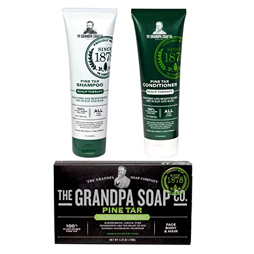 GRANDPA'S PINE TAR BAR SOAP SHAMPOO CONDITIONER PERSONAL BEST NATURAL TREATMENT SENSITIVE SKIN 3 PACK VALUE BUNDLE SET