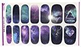 Full Sheet Nebula Galaxy Dr Who Inspired Nail Stickers With Diamonds Deer Triangle - Salon Quality Nail Art Nail Wrap Nail Decals - 1 Sheet