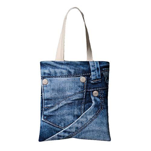 fonxoy-Storage bag Reutilizable Ligero Bolsas De Supermercado Para Compras Viajes Jeans Estampados Creativos Bolsa De Lona Hombro Bolsa De Compras Portátil Grande