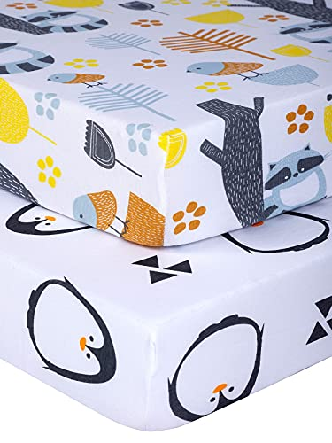 Product Image of the Pack n Play Sheets with Woodland Pattern - Premium Mini Crib Sheets - 100%...