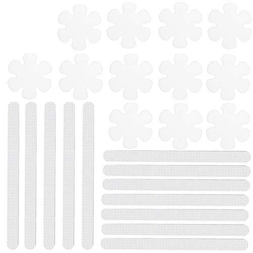 24 Piezas Pegatinas Ducha Antideslizantes, Tiras Antideslizantes para Ducha y Bañera, PEVA Transparente Autoadhesivo Pegatinas Tiras Antideslizantes para Escaleras, Bañeras, Piscinas (2 Estilos)