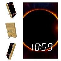 寝室用デジタル目覚まし時計キッチンオフィス3アラーム設定ラジオウッドデスククロック-宇宙空間皆既日食