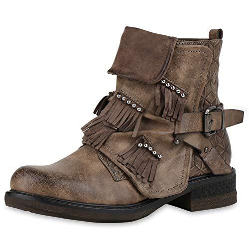 SCARPE VITA Damen Biker Boots Leicht Gefütterte Stiefeletten Fransen Nieten Schuhe Leder-Optik Schnallen 186496 Khaki Fransen 38