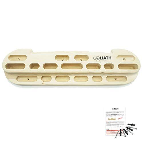 GOLIATH Performance - Hangboard pour l'escalade - Poutre Fingerboard en bois de haute qualité - Planche d'entrainement portable pour améliorer la force des doigts des grimpeurs - Plusieurs prises